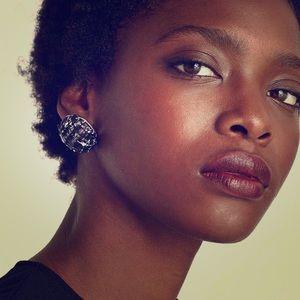 Zara Round Tweed Earrings